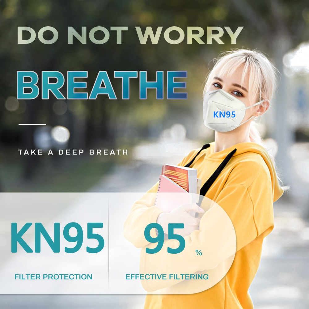 1 pcs/bag individually wrapped KN95 mask Reusable KN95 Mask Protection Face Masks 95% Filtration Mouth Cover Anti Dust P2