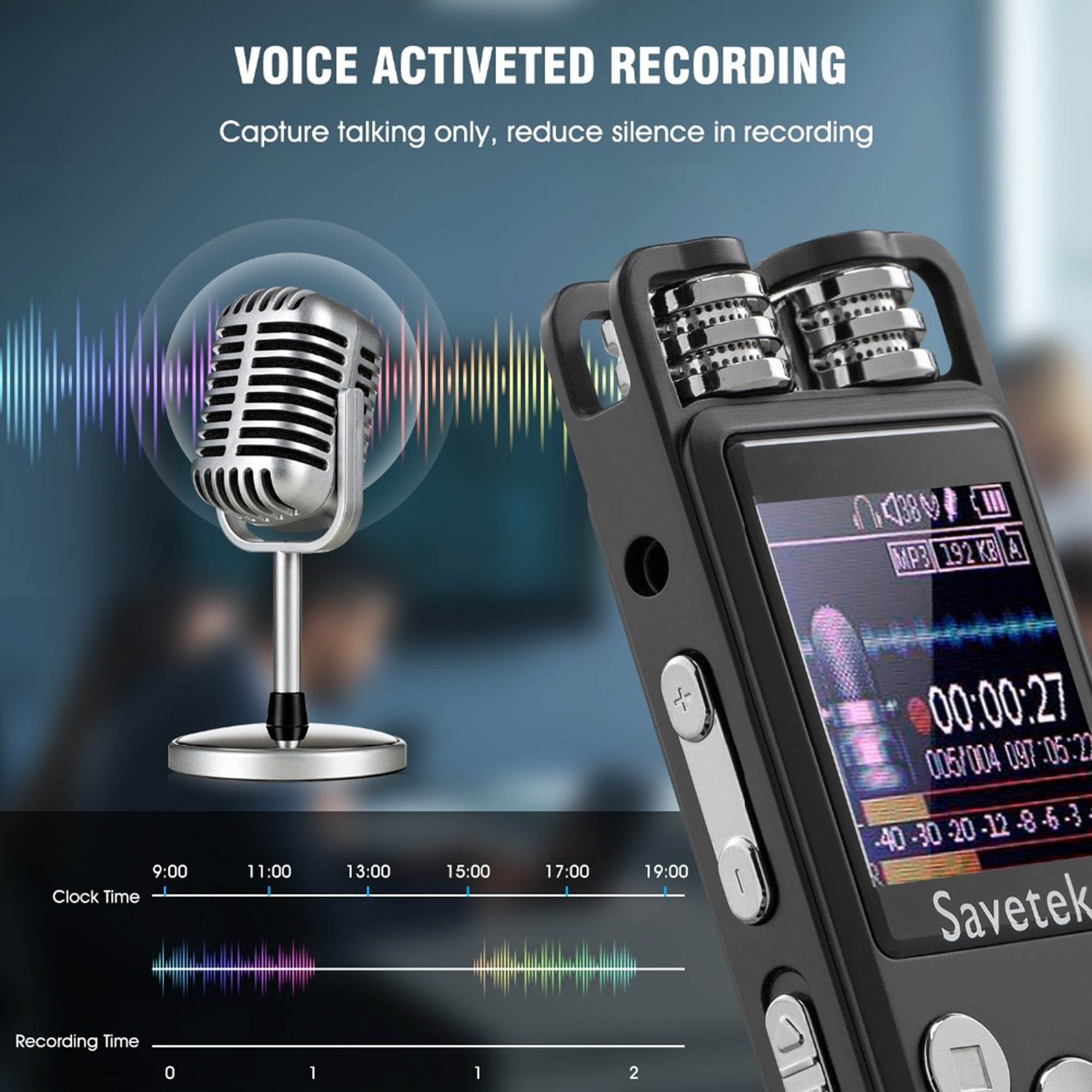 Professional Voice Activated Digital Audio Voice Recorder 8GB 16GB 32G USB Pen Non-Stop 80hr Recording PCM Support TF-Card
