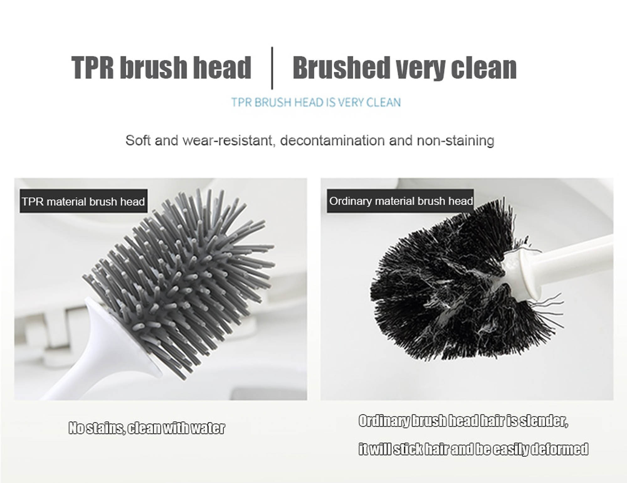 ONEUP TPR Toilet Brush Rubber Head Holder Cleaning Brush For Toilet Wall Hanging Household Floor Cleaning Bathroom Accessories